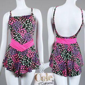 L Vintage 60s Neon Floral 1 Piece Skirt Swimsuuit